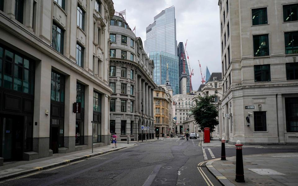An empty road in the Capital's financial district, known as The City, on Monday August 2 - Alberto Pezzali /AP
