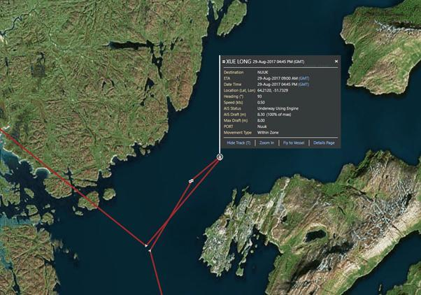 Screenshot from Eikon vessel tracking map, with AIS signals showing Xue Long's positioning