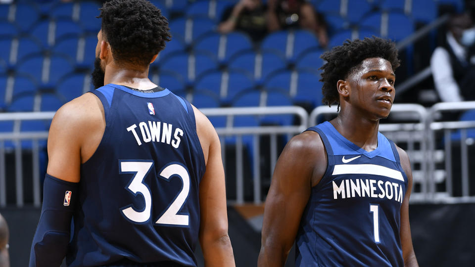 Karl-Anthony Towns and Anthony Edwards, pictured here in action for the Minnesota Timberwolves.