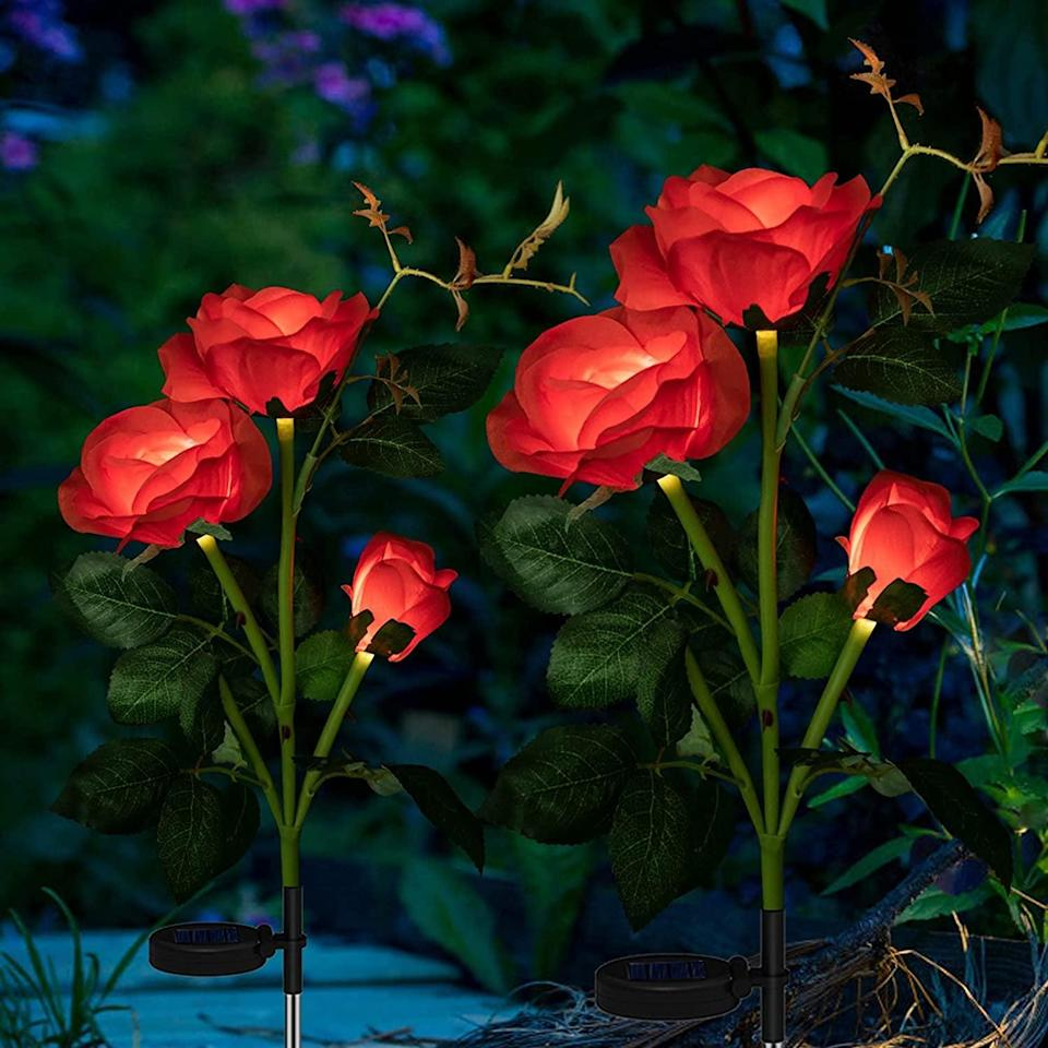<p>If you love growing roses, these <span>2 Pack Outdoor Rose Solar Decorative Lights</span> ($19) will highlight and add a whimsical touch to your rose bushes at night.</p>