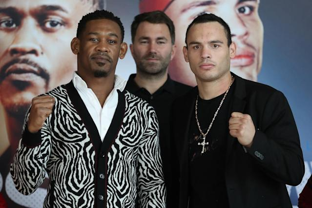 Promoter Eddie Hearn of Matchroom Boxing USA (C) poses with Daniel Jacobs (L) and Julio Cesar Chavez Jr. (R) on Nov. 8 in Los Angeles. (Courtesy Ed Mulholland/Matchroom Boxing USA)