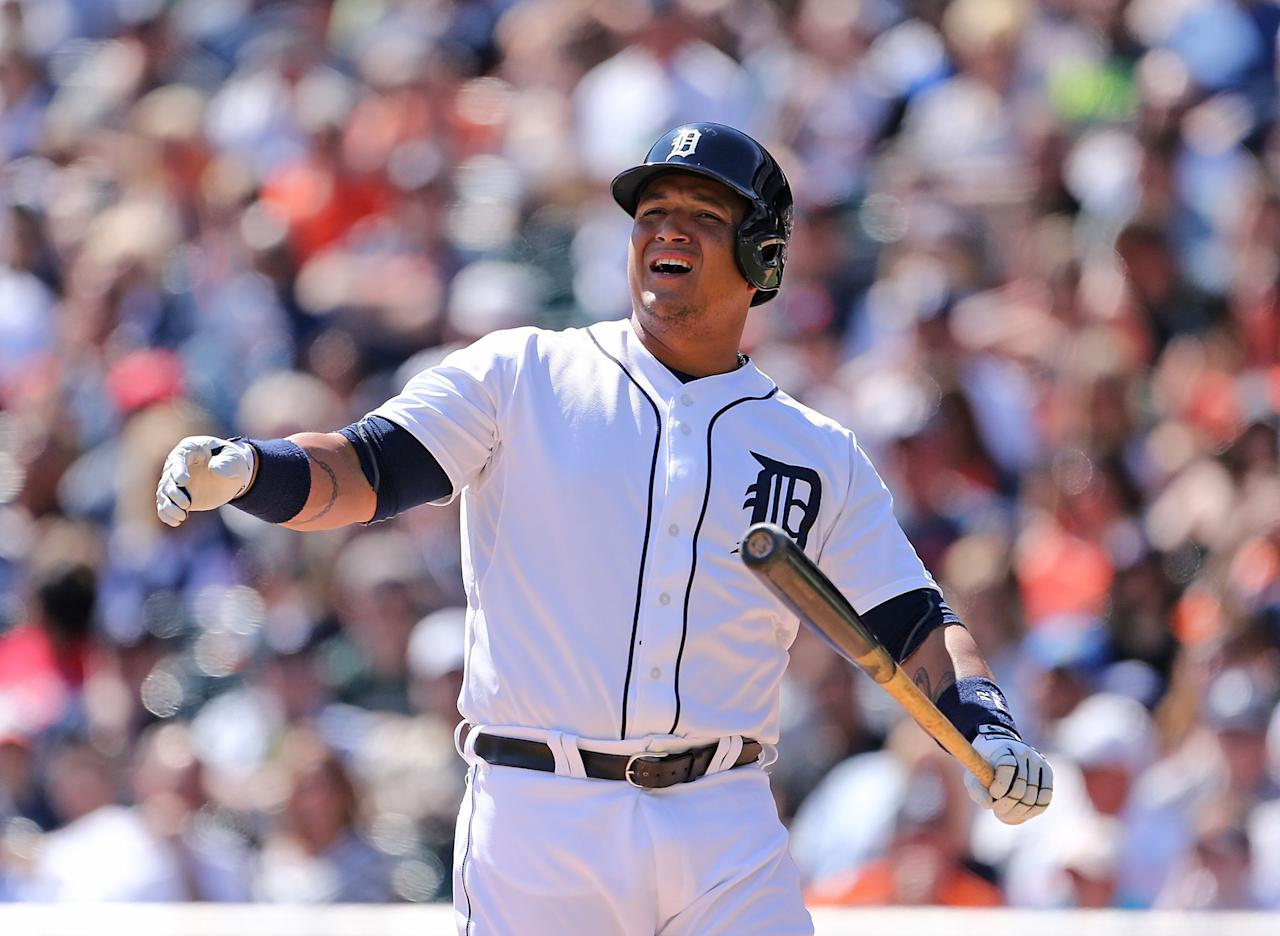 DETROIT, MI - APRIL 20: Miguel Cabrera #24 of the Detroit Tigers reacts after striking out to end the fifth inning of the game against the Los Angeles Angels of Anaheim at Comerica Park on April 20, 2014 in Detroit, Michigan. (Photo by Leon Halip/Getty Images)