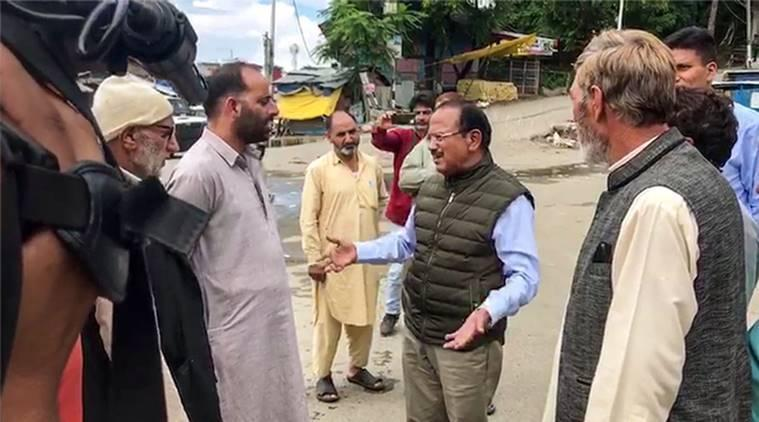 ajit doval srinagar video, kashmir, article 370 kashmir, article 370 scrapped, ajit doval, ajit doval kashmir visit, kashmir bifurcation, bifurcation of kashmir, communication in kashmir, indian express news