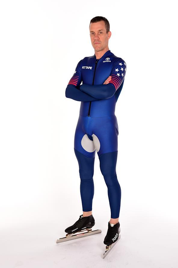 WEST HOLLYWOOD, CA – APRIL 27: Speed skater K.C. Boutiette poses for a portrait during the Team USA PyeongChang 2018 Winter Olympics photo sessions. (Getty Images)