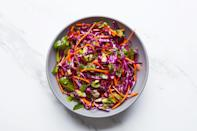 """This supremely simple slaw has a dressing made from orange juice, lime juice, and maple syrup. It'll fit right in on any holiday table. <a href=""""https://www.epicurious.com/recipes/food/views/red-cabbage-slaw-with-cilantro-and-citrus-decolonize-your-diet?mbid=synd_yahoo_rss"""" rel=""""nofollow noopener"""" target=""""_blank"""" data-ylk=""""slk:See recipe."""" class=""""link rapid-noclick-resp"""">See recipe.</a>"""