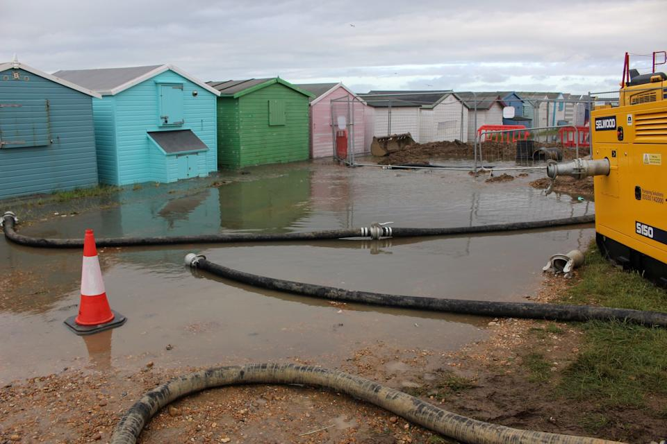 Raw sewage was seen flooding around the beach huts on St Leonard's seafront (swns)