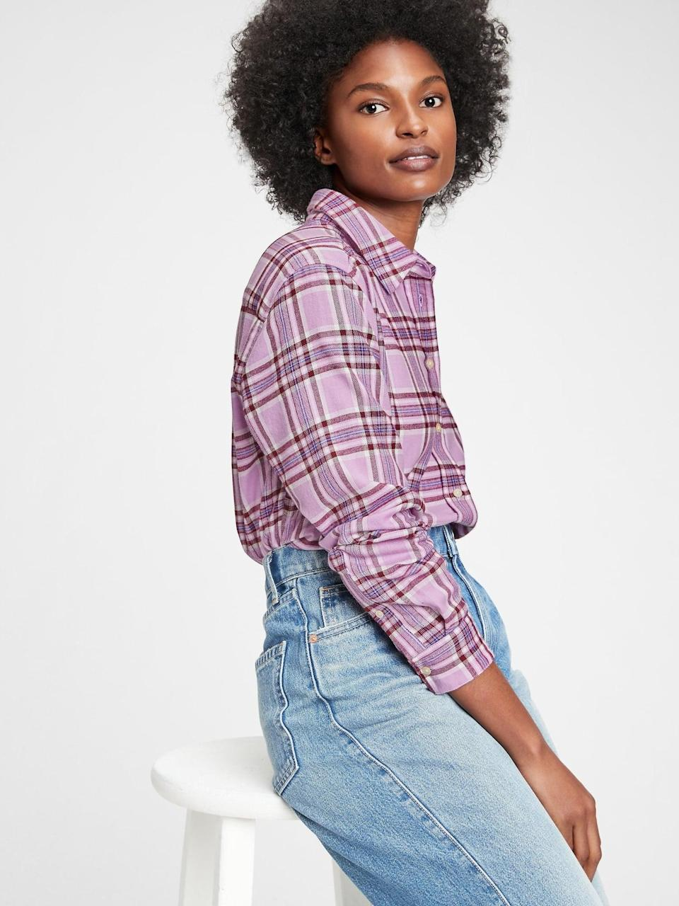<p>This <span>Gap Everyday Flannel Shirt</span> ($40) offers a softer colorway for this menswear look.</p>