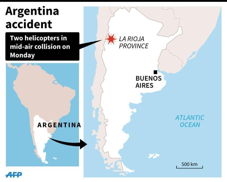 Map showing La Rioja province in Argentina where French sports stars were among 10 people killed in a helicopter crash