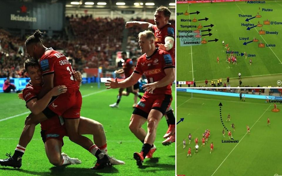 Saracens celebrate Alex Lewington's try, which capped a fine win at Ashton Gate - Getty Images/BT Sport