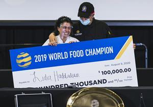 Moments after Lidia was crowned the new World Food Champion.