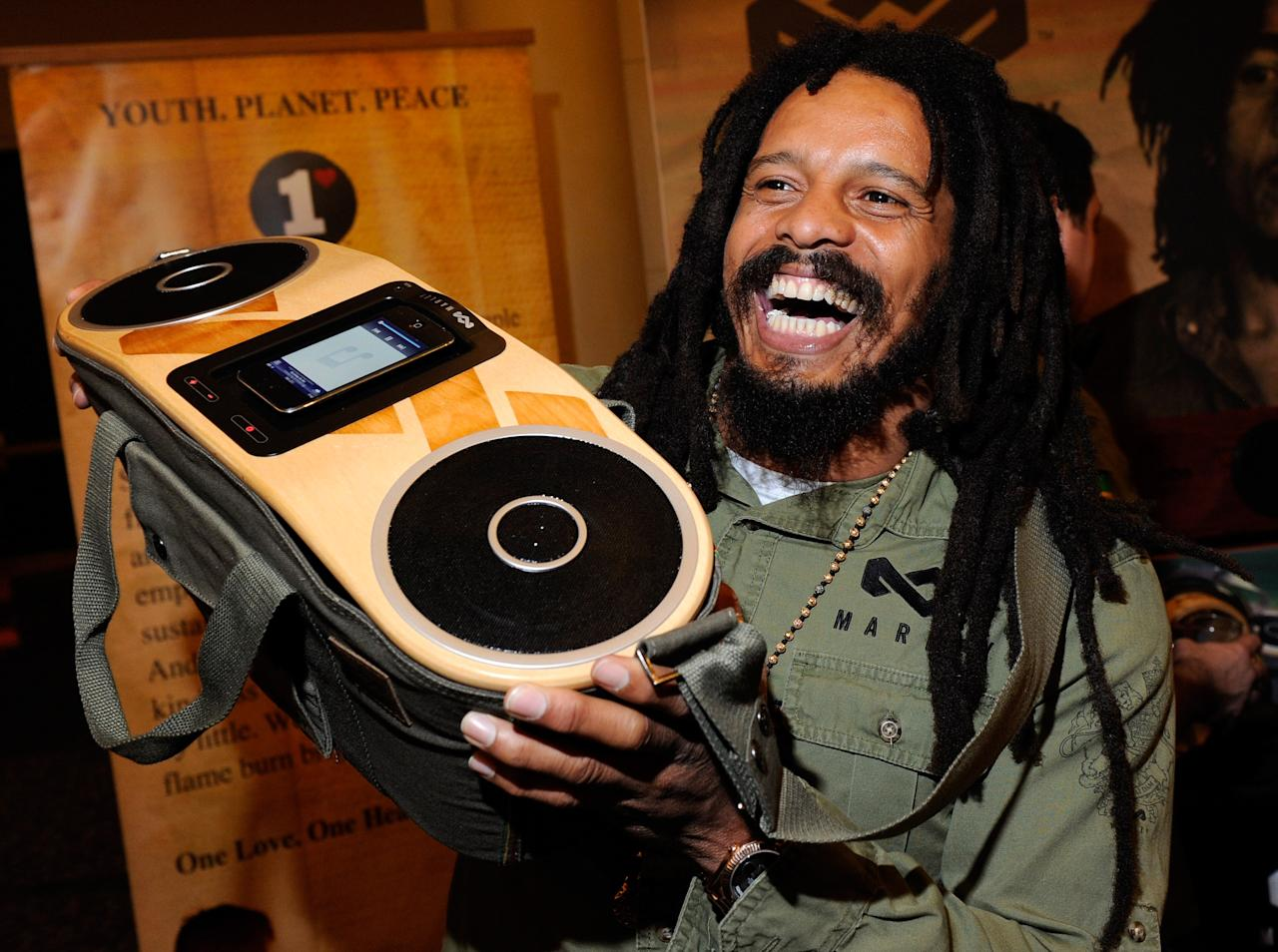 LAS VEGAS, NV - JANUARY 08:  Rohan Marley, son of late Reggae musician Bob Marley, displays the USD 249 Bag of Rhythm audio player with docking station for iPhones and iPods from House of Marley during a press event at The Venetian for the 2012 International Consumer Electronics Show (CES) January 8, 2012 in Las Vegas, Nevada. CES, the world's largest annual consumer technology trade show, runs from January 10-13 and is expected to feature 2,700 exhibitors showing off their latest products and services to about 140,000 attendees.  (Photo by Ethan Miller/Getty Images)