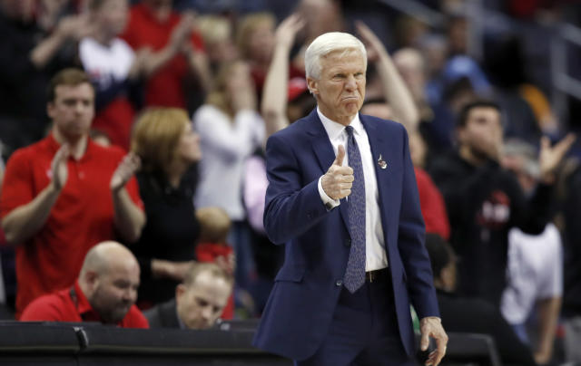 Davidson head coach Bob McKillop encourages his team during the second half of an NCAA college basketball game against St. Bonaventure in the Atlantic 10 Conference tournament, Saturday, March 10, 2018, in Washington. Davidson won 82-70. (AP Photo/Alex Brandon)