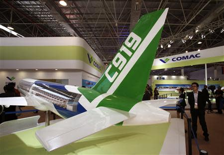 File photo of a model of the Comac C919 passenger plane displayed in Zhuhai