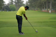 Tony Finau tees off on the 17th hole during the second round of the Masters golf tournament on Friday, April 9, 2021, in Augusta, Ga. (AP Photo/Matt Slocum)