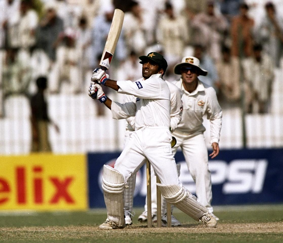 17 Oct 1998:  Saeed Anwar of Pakistan in action during the Second Test against Australia in Peshawar, Pakistan. Mark Taylor scored a record number of runs. \ Mandatory Credit: Ben Radford /Allsport