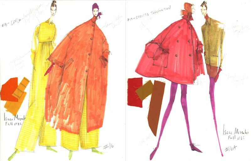 "In I.M., Mizrahi describes his debut fashion show, for Fall 1988, as ""a beautiful, meaningful dream. ""The idea,"" he writes, ""was to introduce color as the main theme for the season—also for the rest of my career."" (Left) Linda Evangelista's jumpsuit and coat ensemble was dubbed ""Orange Orange""—after the Kool-Aid flavor; Christy Turlington's look (right), took its name from a character in Breakfast at Tiffany's, ""Sally Tomato."""