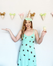 """<p>Another sweet idea: Slip on a solid-colored dress, affix some chips or sprinkles, then turn a party hat into what looks like an upside-down ice cream cone. </p><p><a class=""""link rapid-noclick-resp"""" href=""""https://www.instagram.com/p/CC1Gartpyo-/"""" rel=""""nofollow noopener"""" target=""""_blank"""" data-ylk=""""slk:SEE MORE"""">SEE MORE</a></p><p><a class=""""link rapid-noclick-resp"""" href=""""https://www.amazon.com/Romwe-Womens-Ruffle-Sleeve-Summer/dp/B07CJ42MD9?tag=syn-yahoo-20&ascsubtag=%5Bartid%7C10072.g.33547559%5Bsrc%7Cyahoo-us"""" rel=""""nofollow noopener"""" target=""""_blank"""" data-ylk=""""slk:SHOP DRESS"""">SHOP DRESS</a></p>"""