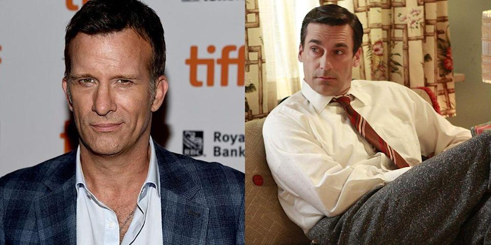"""<p>Because of <em>Mad Men</em>, we have Jon Hamm (the AMC show was his breakout hit) and for that, we're eternally grateful. But in 2011, Hamm let it slip that another actor was considered but *passed* on the role of Don Draper. """"I think they went to Thomas Jane for it, and they were told that Thomas Jane does not do television. Now starring in <em>Hung</em>, by the way,"""" Hamm told the <em><a href=""""http://www.wtfpod.com/podcast/tag/Jon+Hamm"""" rel=""""nofollow noopener"""" target=""""_blank"""" data-ylk=""""slk:WTF with Marc Maron"""" class=""""link rapid-noclick-resp"""">WTF with Marc Maron</a> </em>podcast.</p>"""