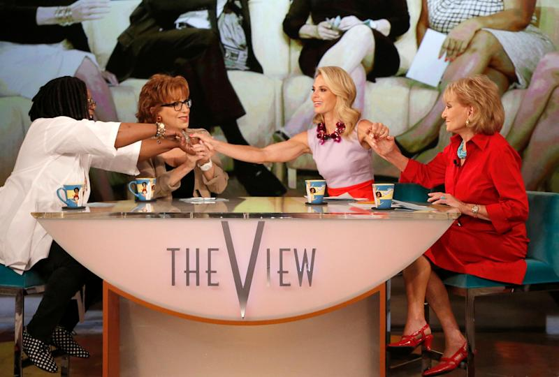 """This image released by ABC shows, from left, Whoopi Goldberg, Joy Behar, Elisabeth Hasselbeck and Barbara Walters, co-hosts on """"The View,"""" during a broadcast on Wednesday, July 10, 2013, in New York. Wednesday was Hasselbeck's last day on the daytime talk show. Her exit came less than 24 hours after it was announced that Hasselbeck will join Fox News Channel and the """"Fox & Friends"""" morning show in September. (AP Photo/ABC, Heidi Gutman)"""