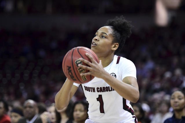 South Carolina guard Zia Cooke (1) attempts to shoot against Auburn during the first half of an NCAA college basketball game Thursday, Feb. 13, 2020, in Columbia, S.C. (AP Photo/Sean Rayford)