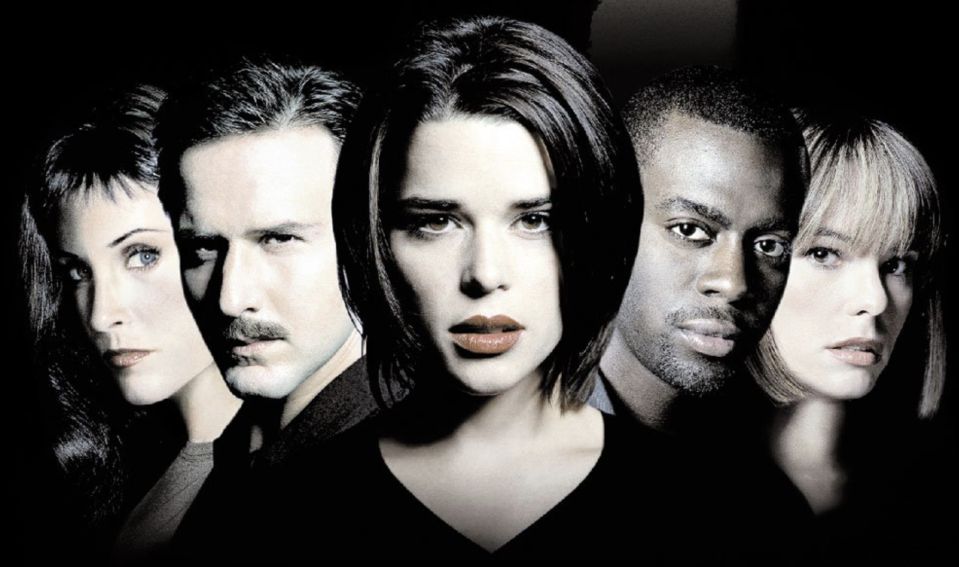 Neve Campbell (centre) in detail from the poster for Scream 3. (Miramax)