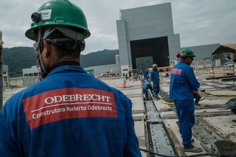Workers for Brazilian construction company Odebrecht on the site of a new Brazilian naval submarine base in Itaguai, some 70 km south from Rio de Janeiro, Brazil, on April 7, 2017