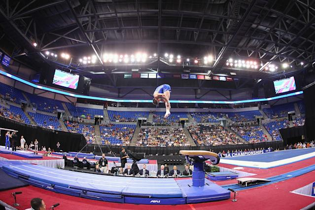 ST. LOUIS, MO - JUNE 9: Chris Brooks competes on the vault during the Senior Men's competition on Day Three of the Visa Championships at Chaifetz Arena on June 9, 2012 in St. Louis, Missouri. (Photo by Dilip Vishwanat/Getty Images)