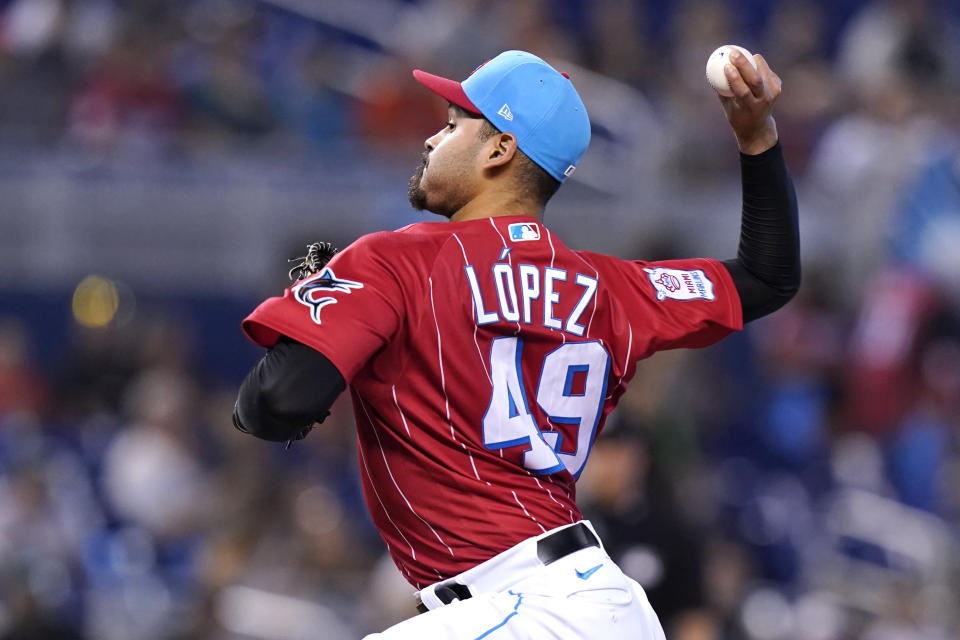 Miami Marlins starting pitcher Pablo Lopez (49) throws during the first inning of a baseball game against the Atlanta Braves, Sunday, July 11, 2021, in Miami. (AP Photo/Lynne Sladky)