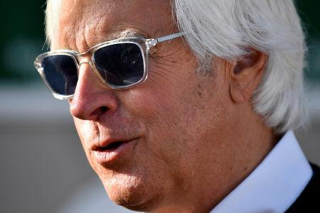 FILE PHOTO: May 2, 2019; Louisville, KY, USA; Trainer Bob Baffert talks with reporters during morning workouts at Churchill Downs. Mandatory Credit: Jamie Rhodes-USA TODAY Sports