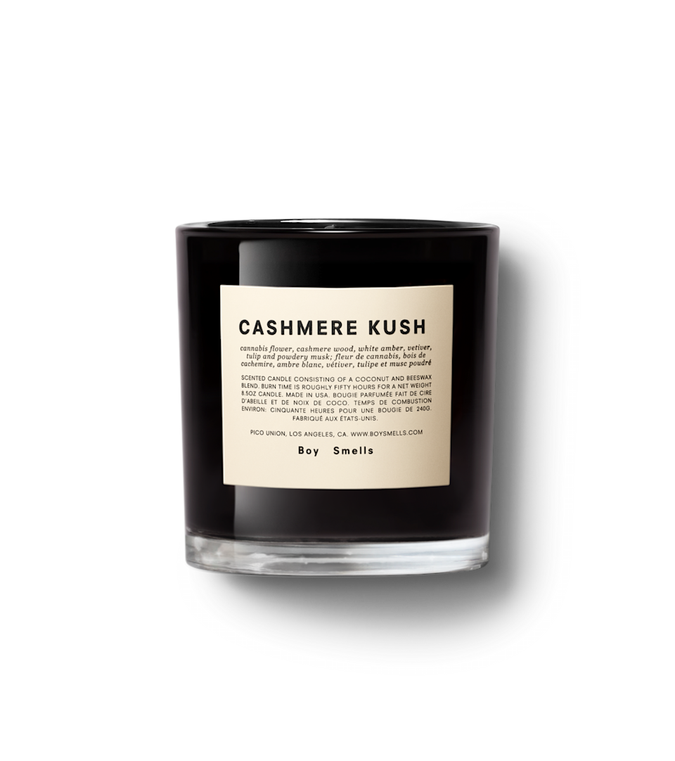 """<h3>Boy Smells CASHMERE KUSH</h3><br>This darker candle is a smokier, more sensual remix of the brand's best-selling <a href=""""https://www.nordstrom.com/s/boy-smells-kush-scented-candle/4798004"""" rel=""""nofollow noopener"""" target=""""_blank"""" data-ylk=""""slk:Kush candle"""" class=""""link rapid-noclick-resp"""">Kush candle</a>. Its notes of pot flower, cashmere wood, white amber, vetiver, tulip, and powdery musk combine to create a relaxing and lovely aroma that will ease you through autumnal equinox. One reviewer says, """"the scent is strong enough to radiate even when cold."""" <br><br><em>Shop <a href=""""https://www.nordstrom.com/s/boy-smells-cashmere-kush-scented-candle/5599741"""" rel=""""nofollow noopener"""" target=""""_blank"""" data-ylk=""""slk:Nordstrom"""" class=""""link rapid-noclick-resp""""><strong>Nordstrom</strong></a></em><br><br><strong>Boy Smells</strong> CASHMERE KUSH, $, available at <a href=""""https://go.skimresources.com/?id=30283X879131&url=https%3A%2F%2Fboysmells.com%2Fcollections%2Ftumbleweed%2Fproducts%2Fcashmere-k"""" rel=""""nofollow noopener"""" target=""""_blank"""" data-ylk=""""slk:Nordstrom"""" class=""""link rapid-noclick-resp"""">Nordstrom</a>"""