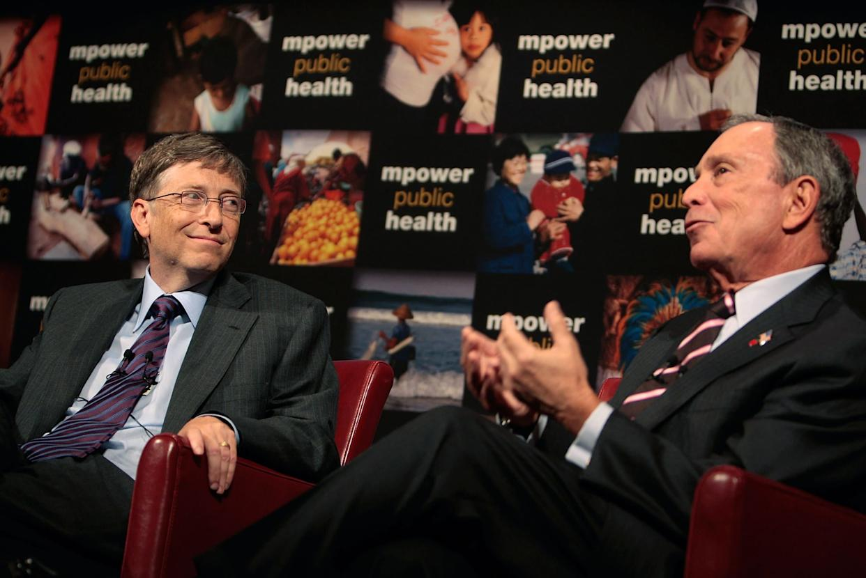 Bill Gates (left) and Michael Bloomberg hold a press conference to announce their charitable support for a global anti-smoking initiative on July 23, 2008, in New York City. (Photo: Chris Hondros via Getty Images)