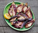 """Silky grilled <a href=""""https://www.epicurious.com/recipes-menus/16-reasons-we-love-eggplant-gallery?mbid=synd_yahoo_rss"""" rel=""""nofollow noopener"""" target=""""_blank"""" data-ylk=""""slk:eggplant"""" class=""""link rapid-noclick-resp"""">eggplant</a> loves a dollop of garlicky tahini yogurt, plus this spectacular herby pistachio and dried fruit sauce. <a href=""""https://www.epicurious.com/recipes/food/views/grilled-eggplant-with-garlicky-tahini-yogurt-sauce?mbid=synd_yahoo_rss"""" rel=""""nofollow noopener"""" target=""""_blank"""" data-ylk=""""slk:See recipe."""" class=""""link rapid-noclick-resp"""">See recipe.</a>"""