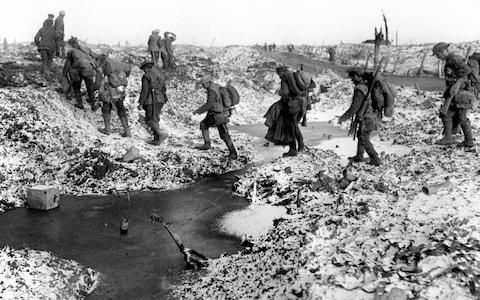 British soldiers along the River Somme in late 1916. - Credit: PA