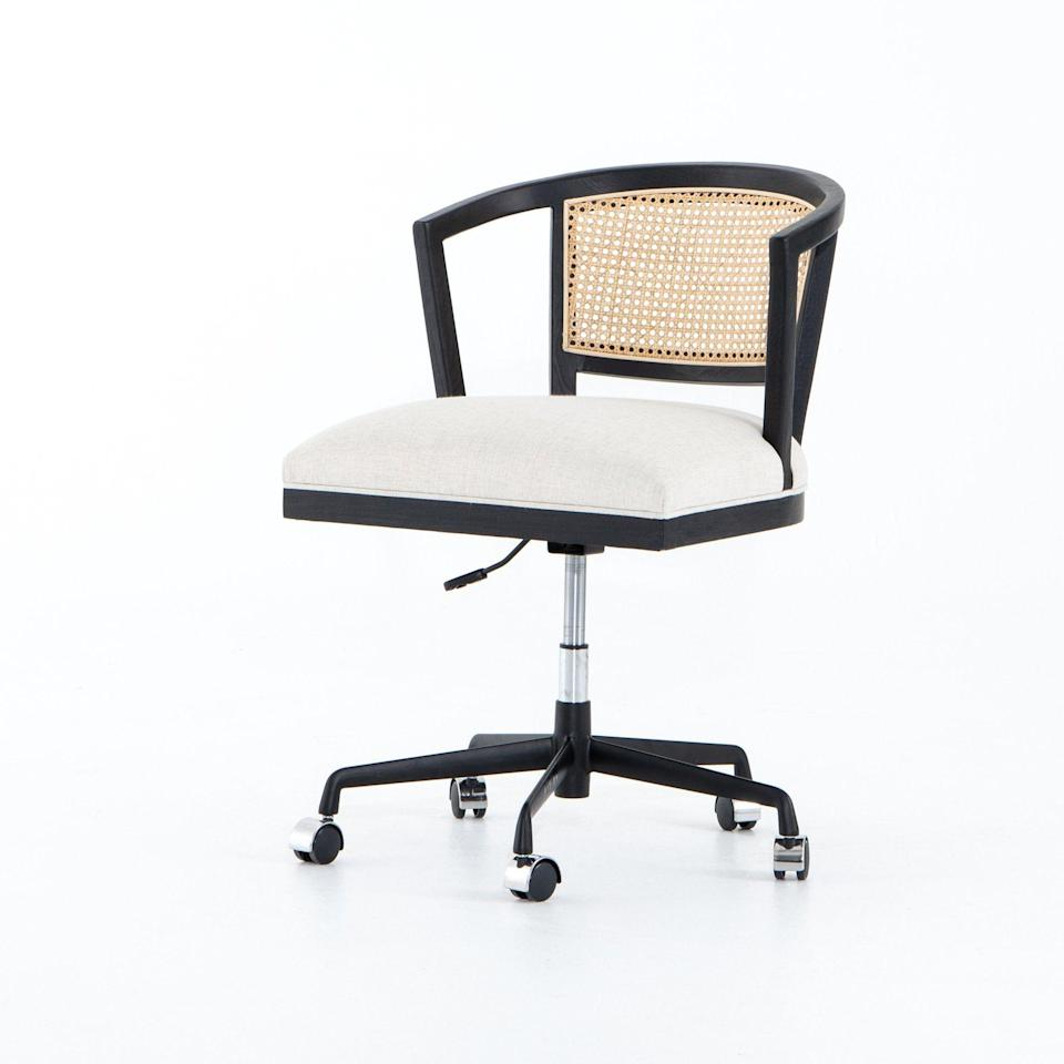 """<p><strong>BD Studio</strong></p><p>burkedecor.com</p><p><strong>$392.00</strong></p><p><a href=""""https://www.burkedecor.com/products/alexa-desk-chair-by-bd-studio"""" rel=""""nofollow noopener"""" target=""""_blank"""" data-ylk=""""slk:Shop It"""" class=""""link rapid-noclick-resp"""">Shop It</a></p><p>Natural cane and brushed ebony make for a sophisticated twist on a retro design. Plus, it has an ultra-comfy seat.</p>"""