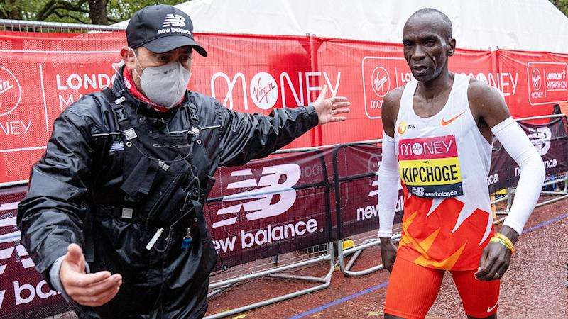 Eliud Kipchoge, pictured here after finishing the London Marathon in eighth place.
