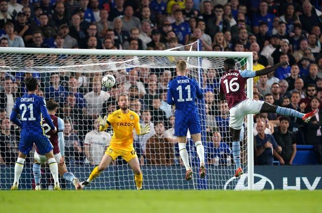 Chelsea's Timo Werner (second right) scores against Aston Villa