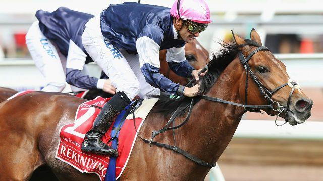 Brown celebrates his second Melbourne Cup victory. Image: Getty