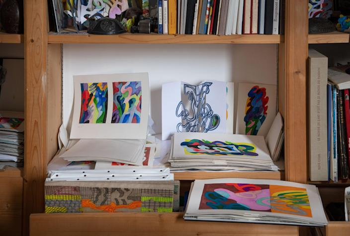 Colored gouaches on paper demonstrate de Rougemont's interest in curving lines and sculptural shapes.