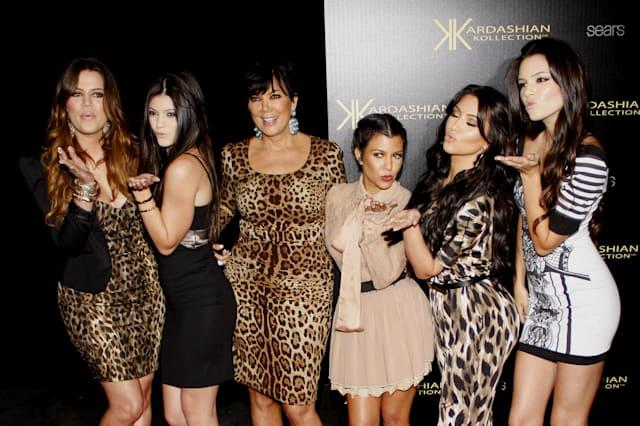 HOLLYWOOD, CALIFORNIA - Wednesday August 17, 2011. The Kardashians at the Kardashian Kollection Launch Party held at the Colony,