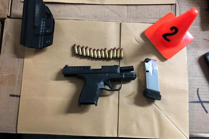 One of several loaded firearms seized by the York York City Sheriff from an illegal fight club in the Bronx. (NYC Sheriff via Twitter)