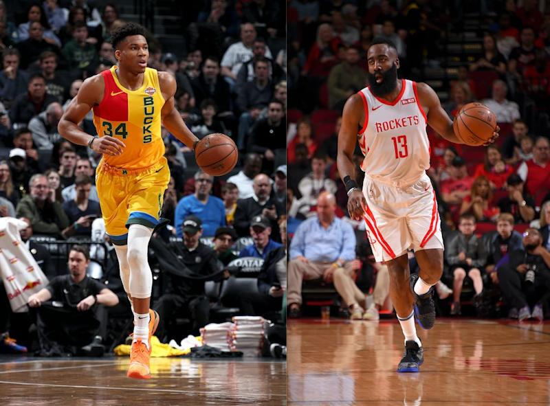 The MVP race is down to Giannis Antetokounmpo vs. James Harden. (Getty)