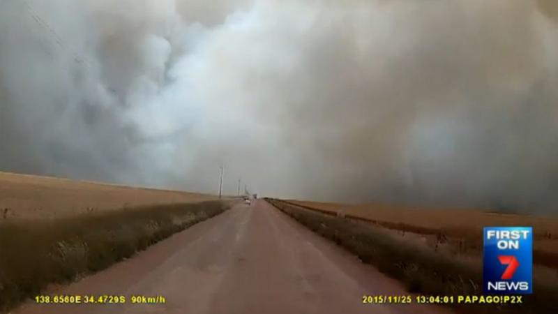 As fire crews approach the town of Pinery, the smoke is already thick in the air. Photo: 7News