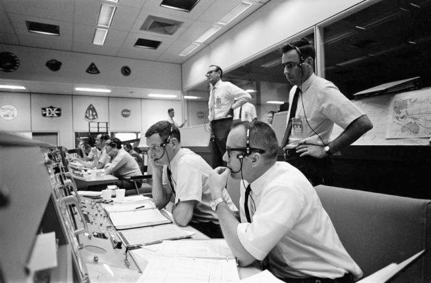 Flight directors at Mission Control in 1969