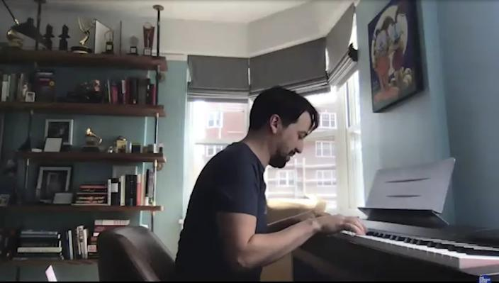 Lin-Manuel Miranda filmed from his home.