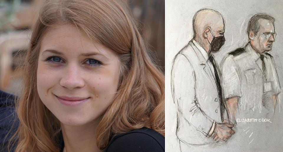Sarah Everard is pictured left with a court sketch of Wayne Couzens on the right.