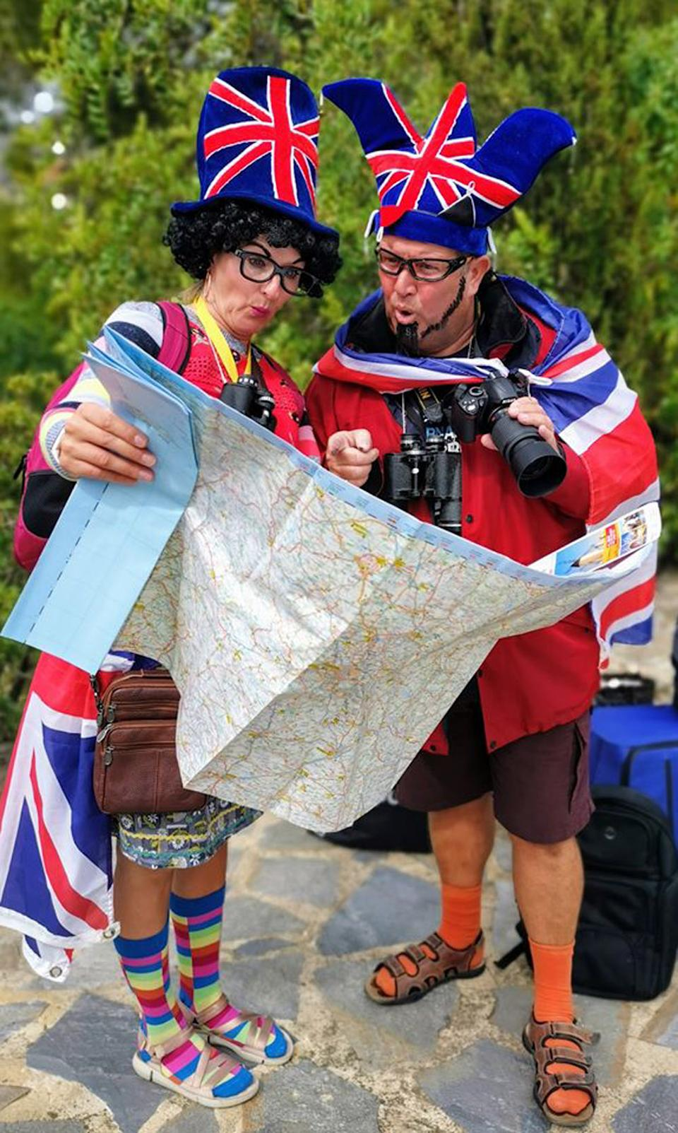 Jo and Pete's 'tourists in London' themed costumes (PA Real Life/Collect)