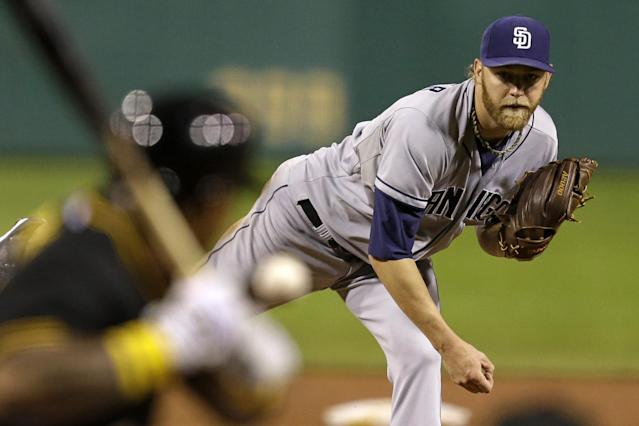 San Diego Padres starting pitcher Andrew Cashner (34) delivers to Pittsburgh Pirates' Marlon Byrd during the eighth inning of a baseball game against the Pittsburgh Pirates in Pittsburgh Monday, Sept. 16, 2013. Cashner threw a complete-game one-hitter in the 2-0, Padres win. AP Photo/Gene J. Puskar)