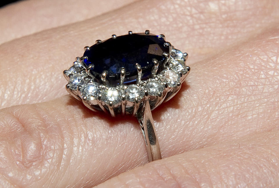William proposed to Kate Middleton with a sapphire-and-diamond ring that once belonged to his late mom, Diana, Princess of Wales. (Photo: Getty Images)