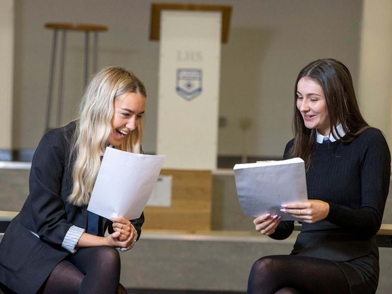 Handout photo issued by Jeff Holmes of two friends finding out their exam results at Linwood High in Renfrewshire: PA