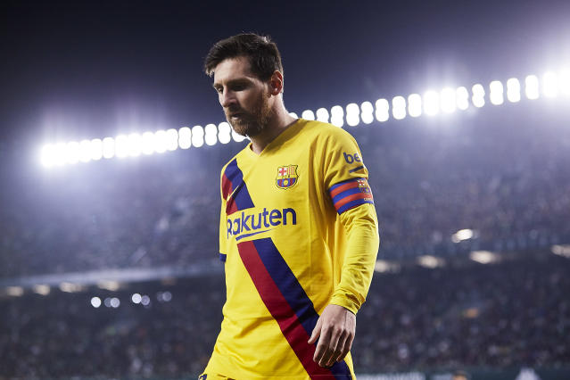 However you want to read it, Lionel Messi is clearly more unsettled than usual at Barcelona. (Photo by Fran Santiago/Quality Sport Images/Getty Images)